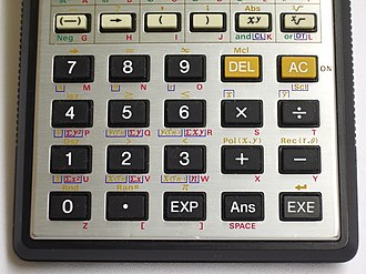 Casio fx-7000G - Image: Casio fx 7000G Keyboard Lower