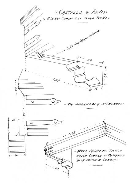 File:Castello di Fenis, schizzi di camini, da schizzi d andrade, ig 145, disegno Nigra.tiff