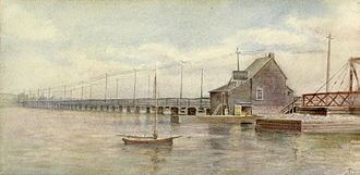La Salle Causeway - Cataraqui Bridge and Toll House circa 1900. Watercolor by Ella Isabel Fraser (1856–1943). View is to the east.