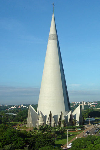 Maringá - The Cathedral of Maringá, the city's most famous landmark, was completed in 1972. At 124 meters, it is the tallest church building in South America.