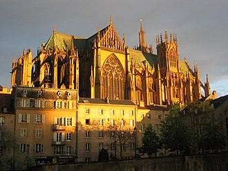 Metz Cathedral - Saint Étienne de Metz at sunset.