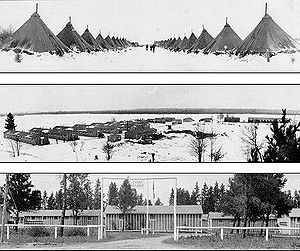 CCC camps in Michigan; the tents were soon replaced by barracks built by Army contractors for the enrollees.