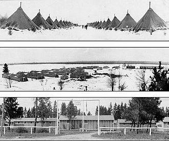 Civilian Conservation Corps - CCC camps in Michigan; the tents were soon replaced by barracks built by Army contractors for the enrollees.