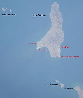 Cedros Island - Annotated Space Shuttle photo of Cedros Island