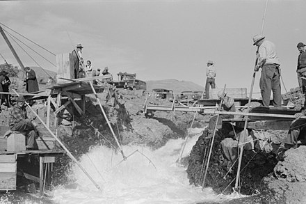 Dipnet fishing at Celilo Falls, 1941 Celilo Falls Lee.jpg