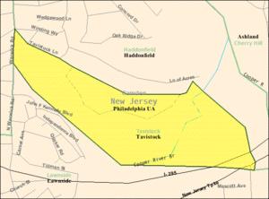 Tavistock, New Jersey - Image: Census Bureau map of Tavistock, New Jersey