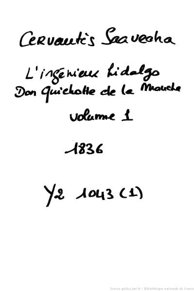 File:Cervantes - L'Ingénieux Hidalgo Don Quichotte de la Manche, traduction Viardot, 1836, tome 1.djvu