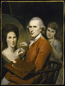 Charles wilson peale   self portrait with angelica and portrait of rachel   google art project