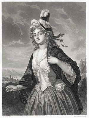 Charlotte von Lengefeld - Print of a portrait of Charlotte von Lengefeld, probably by Auguste Christian Fleischman.