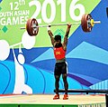 Chathuranga Lakamal Jayasooriya Arachchilage (Sri Lanka) in action and won the bronze medal in 56 kg Men's weightlifting, at 12th South Asian Games-2016, in Dispur, Guwahati on February 06, 2016.jpg