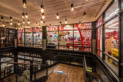 Chelsea Market's two levels featuring Pearl River Mart's colorful and cheery store above downstair's Chelsea Local