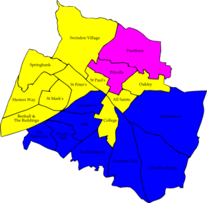 Cheltenham Borough Council elections - Image: Cheltenham 2006 election map
