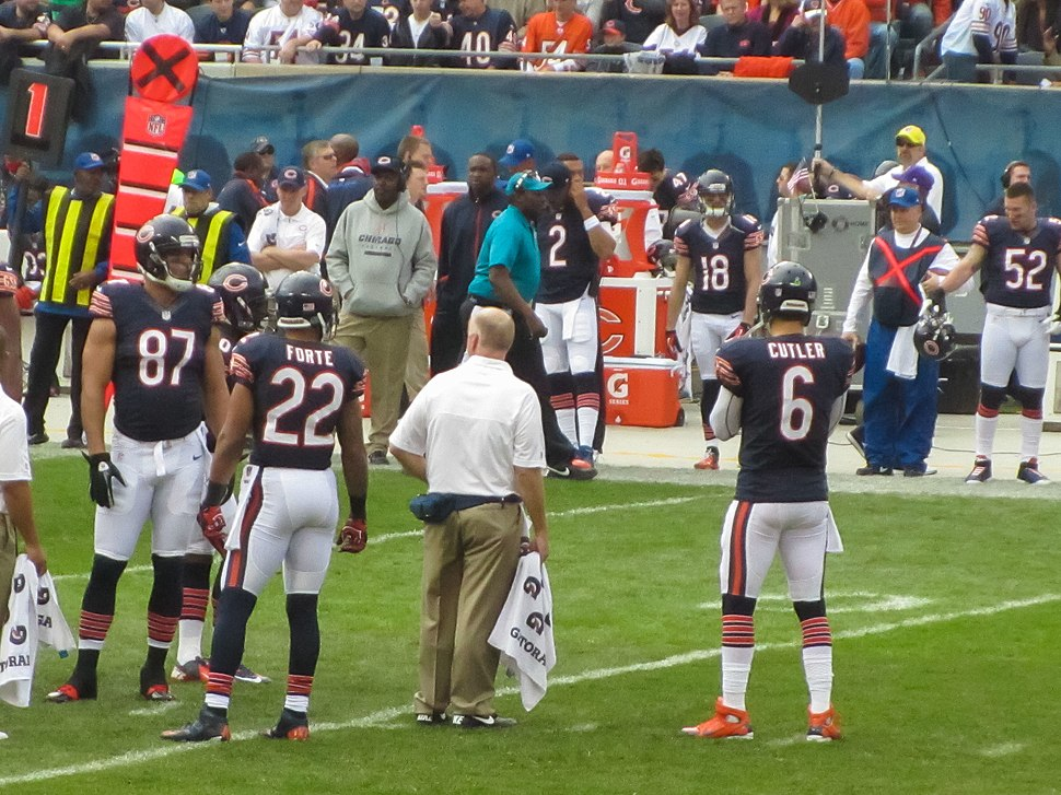 Chicago Bears offense during TV timeout