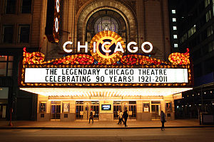 Chicago Theatre - Marquee during the theater's 90th anniversary