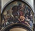 Chiesa di San Zaccaria Venezia - Attila conquista Aquileia e Gilio fa mettere in salvo moglie e figlia (1684 circa) affresco di A. Zonca.jpg