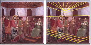 Perspective projection distortion - Fig. 5A. Jesus Before the Caïf, by Giotto (1305). The ceiling rafters show Giotto's introduction of convergent perspective. B. Detailed analysis, however, reveals that the ceiling has an inconsistent vanishing point and that the Caïf's dais is in parallel perspective, with no vanishing point.