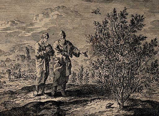 Christ tells an apostle how a mustard seed grows into a tree Wellcome V0034951