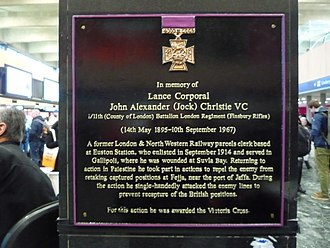 Finsbury Rifles - The Jock Christie, VC, memorial at Euston Station.