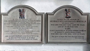 Edward Ruggles-Brise - Monument to Edward Archibald Ruggles-Brise (left) in the Church of St John, Finchingfield, Essex