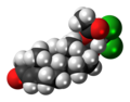 Cloxotestosterone acetate molecule spacefill.png