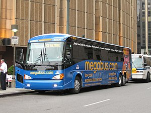 Megabus Northeast USA MCI D4505 #58525 boards ...