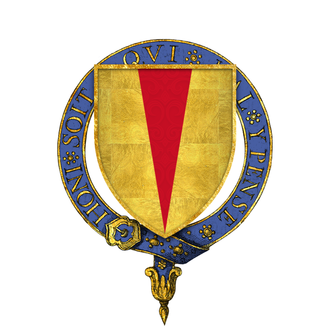 John Chandos - Arms of Sir John Chandos, KG, as illustrated on his stall plate in St. George's chapel – or a pile gules which is blazoned throughout