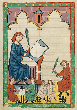 "Catechism - Codex Manesse, fol. 292v, ""The Schoolmaster of Esslingen"" (Der Schulmeister von Eßlingen)"