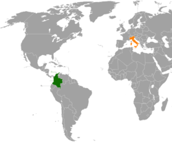 Map indicating locations of Colombia and Italy
