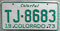 Colorado 1973 license plate - Number TJ-8683.png