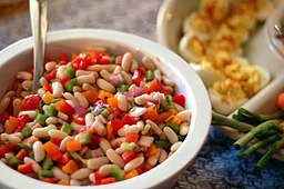 Colourful bean salad
