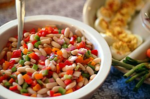 Colourful bean salad.