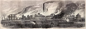 Colt Armory - Destruction of the original East Armory by fire, 1864