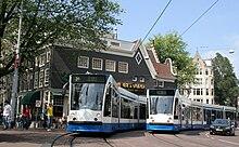 Vue des tramways d'Amsterdam