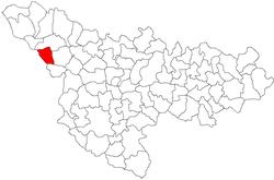 Location of Comloșu Mare in Timiș County