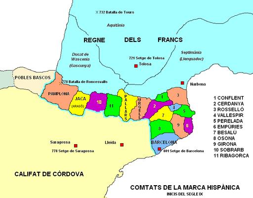Comtats de la Marca Hispànica a inicis S IX