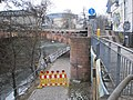 Construction works on river bridge 'Weidenhäuser Brücke' with closed cycling trail Lahntalradweg, stairs to go open again 2018-03-02.jpg