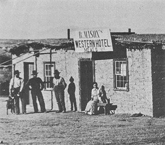 Contention City, Arizona - Mason's Western Hotel in Contention City, 1880.