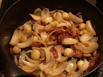 Lardon - The lardon, onions and garlic being prepared for a coq au vin