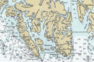 Dall Island - Dall Island lies west of the southern part of Prince of Wales Island, and forms the western shore of Cordova Bay, Kaigani Strait, and Tlevak Strait.  US Coast Survey chart detail