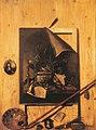 Cornelis Norbertus Gijsbrechts - Trompe L'oeil of a studio wall with a vanitas still life, portrait miniatures and art supplies.jpg