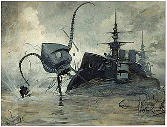 The War of the Worlds - A Martian fighting-machine battling with HMS Thunder Child (1906)