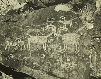 Indigenous peoples of California - Rock art at Coso in the Mojave desert. Native American culture in California was noted for its rock art or petroglyphs