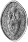 Greyscale illustration of the counter-seal of Alan's daughter, Dervorguilla.