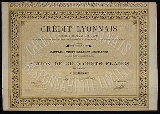 Crédit Lyonnais - Image: Crédit Lyonnais 1863