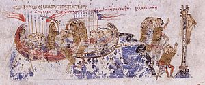 Krateros (strategos of the Cibyrrhaeots) - Cretan Saracens pursue Krateros and capture and hang him at Kos