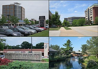 Creve Coeur, Missouri - From top left, left to right: Businesses in Creve Coeur, Drury Inn and headquarters, Fountain Park, Office park
