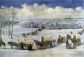 Covered wagon - Crossing the frozen Mississippi River