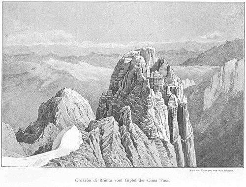 Crozzon di Brenta von Süden 1890