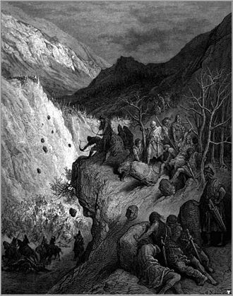 Battle of Myriokephalon - This image by Gustave Doré shows the Turkish ambush at the pass of Myriokephalon. This ambush destroyed Manuel's hope of capturing Konya.