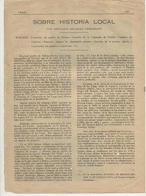 Melena del Sur - Image: Cuspide Sobre Historia Local